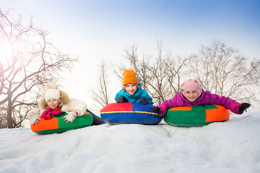 Row of children sliding down on the tubes together during beautiful winter day with trees trunks on the background